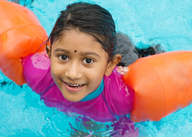 Winter school holiday swimming program for adults and children